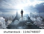 back view of young businessman... | Shutterstock . vector #1146748007
