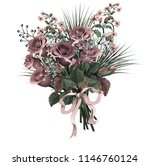 beautiful bouquet of  red roses ... | Shutterstock . vector #1146760124