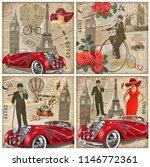 set of vintage paris london... | Shutterstock . vector #1146772361