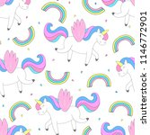 cute unicorn vector pattern   Shutterstock .eps vector #1146772901