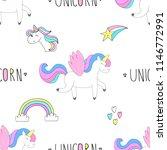 cute unicorn vector pattern   Shutterstock .eps vector #1146772991