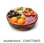 bowl with tasty acai smoothie... | Shutterstock . vector #1146773651