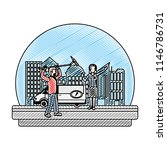 doodle journalist van and... | Shutterstock .eps vector #1146786731