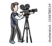 doodle professional cameraman... | Shutterstock .eps vector #1146788114