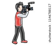 doodle cute cameraman with... | Shutterstock .eps vector #1146788117