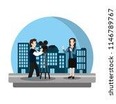 professional cameraman film to... | Shutterstock .eps vector #1146789767