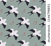 seamless pattern with flying... | Shutterstock .eps vector #1146798851