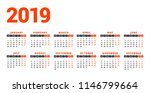 calendar for 2019 year on white ... | Shutterstock .eps vector #1146799664