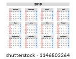 vector calendar 2019  week... | Shutterstock .eps vector #1146803264
