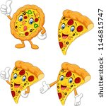 cartoon funny pizza collection... | Shutterstock .eps vector #1146815747