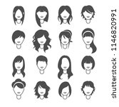 styles hair silhouettes  woman... | Shutterstock .eps vector #1146820991