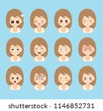 set of woman's emotions. facial ... | Shutterstock .eps vector #1146852731