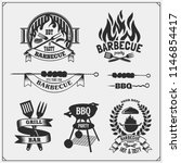 bbq and grill labels set.... | Shutterstock .eps vector #1146854417