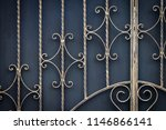 wrought iron gates  ornamental... | Shutterstock . vector #1146866141
