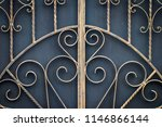 wrought iron gates  ornamental... | Shutterstock . vector #1146866144