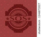 sos retro red emblem | Shutterstock .eps vector #1146872027