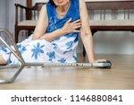 elderly woman falling down at... | Shutterstock . vector #1146880841