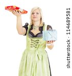 Young woman with two colorful gifts - stock photo