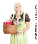 Young woman carries a basket with gifts - stock photo