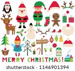 christmas vector set  santa ... | Shutterstock .eps vector #1146901394