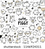 funny pigs  new year 2019... | Shutterstock .eps vector #1146924311