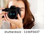Photographer Woman Girl Is...