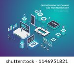 cryptocurrency and blockchain... | Shutterstock .eps vector #1146951821