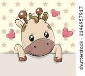 cute cartoon giraffe is holding ... | Shutterstock .eps vector #1146957917