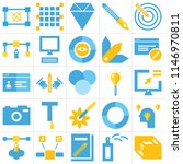 set of 25 icons such as 3d cube ...