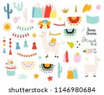 set of cute llama elements and... | Shutterstock .eps vector #1146980684