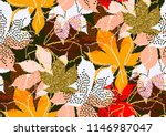 fall leaves seamless pattern... | Shutterstock .eps vector #1146987047