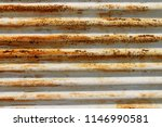 rusty corrugated metal roofing | Shutterstock . vector #1146990581
