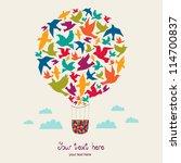 hot air balloon with birds. | Shutterstock .eps vector #114700837