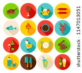 picnic grill circle icons set.... | Shutterstock .eps vector #1147013051