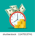 clock  dollar banknotes and... | Shutterstock .eps vector #1147013741