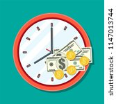 clock  dollar banknotes and... | Shutterstock .eps vector #1147013744