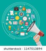 loudspeaker or megaphone in... | Shutterstock .eps vector #1147013894