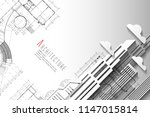 architecture and blueprint...   Shutterstock .eps vector #1147015814