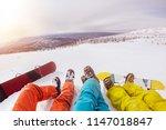 three friends snowboarders... | Shutterstock . vector #1147018847