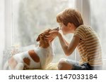 Stock photo little boy kisses the dog in nose on the window friendship care happiness new year concept 1147033184