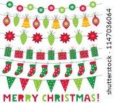 christmas decoration vector set | Shutterstock .eps vector #1147036064