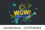 3d rendered wow letters in... | Shutterstock . vector #1147036361