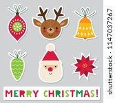 christmas vector stickers set | Shutterstock .eps vector #1147037267