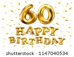 raster copy happy birthday 60th ... | Shutterstock . vector #1147040534