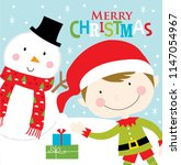 elf and snowman christmas... | Shutterstock .eps vector #1147054967