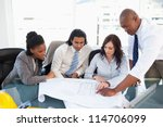 business team seriously working ... | Shutterstock . vector #114706099
