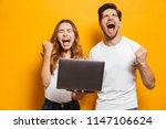 portrait of ecstatic man and... | Shutterstock . vector #1147106624