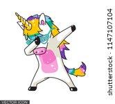 funny dabbing unicorn vector | Shutterstock .eps vector #1147107104