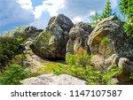 mountain peak rocks view.... | Shutterstock . vector #1147107587