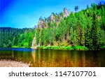 mountain forest river in...   Shutterstock . vector #1147107701